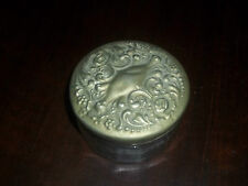 Antique Clear Glass Round with Silver Rose Lid Powder~Trinket~Vanity Box Jar