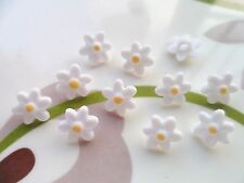 30pcs Button Tiny Daisy Flower Sewing Shank White Yellow 12mm