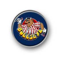 "BULLSEYE / 1"" / 25mm pin button / badge / bully / darts / Jim Bowen / TV / 180"