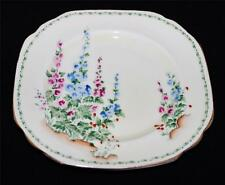 "Crown Staffordshire -F13501 -PINK & BLUE HOLLYHOCK w/GREEN BAND- 6"" Square Plate"