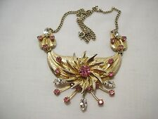 SPARKLY VINTAGE PINWHEEL & LEAVES PINK & CLEAR RHINESTONE NECKLACE!