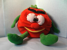 "10"" VINTAGE 1987 VIDEO VEGETABLES RED TOMATOE STUFFED ANIMAL PLUSH TOY"