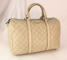 Authentic Gucci Guccissima Monogram Ivory Leather Speedy Boston Bag Satchel