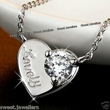 Xmas Gifts For Her - 925 Silver Lovely Heart Crystal Necklace Wife Love Women A1