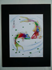 11x14 Kissing Fish good luck Feng shui Art Asian - Chinese Brush Painting
