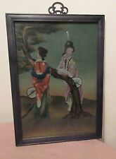 original Chinese figural females ladies reverse acrylic painting on glass framed