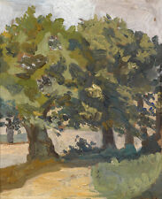 Hand painted oil painting impressionism landscape with trees in summer season