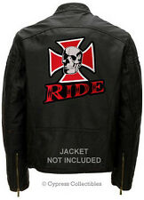 SKULL IRON CROSS BIKER PATCH embroidered LARGE RIDE IRON-ON SKELETON CHOPPER