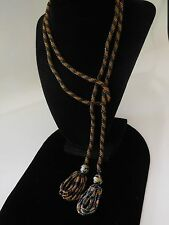 ANTIQUE ART DECO BLACK GOLD GLASS SEED BEAD WEDDING CAKE LONG FLAPPER NECKLACE