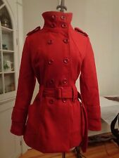 MAX MARA double-breasted red wool blend belted coat women's S/M