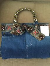 Denim bootie bag, purse with bling