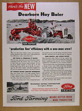 1953 Ford Tractor Dearborn Hay Baler farmer haying photo vintage print Ad