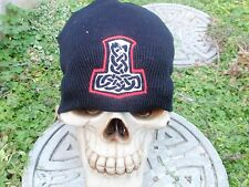 serpent celtic knot embroiderd beanie hat thors hammer asatru norse
