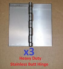"3 pc .120 Stainless Steel Butt Hinge 6 x 6"" HEAVY Duty Cabinet/Boat/Door/DIY"