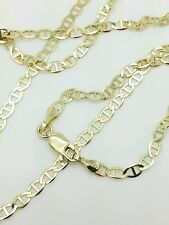 "10k Solid Yellow Gold Mariner Anchor Necklace Pendant Chain 20"" 3.2mm"