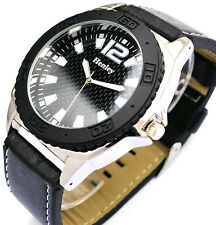 New Henley Mens Casual Urban Watch with Big Black Face, Black Strap, New & Boxed
