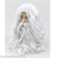 Santa Father Christmas White Wizard Wig & Beard  White Fancy Dress