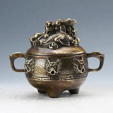Chinese Brass Hand Carved Dragon Incense Burner W Qing Generation Mark D1171