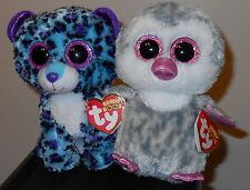 """Ty Beanie Boo Set~ Lizzie the Leopard & Olive the Penguin 6"""" Claire's Exclusives"""
