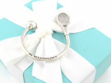 AUTHENTIC TIFFANY & CO SILVER TENNIS BALL RACKET KEYCHAIN KEY CHAIN RING BOX
