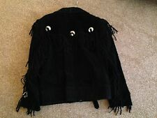 "Vintage Black Suede Leather Fringed Jacket, Size 16 (36"")"
