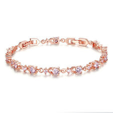 19cm Tennis Silver Topaz Crystal Wedding Bridal Bracelet 18K White Gold Plated