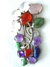 Large vintage Chinese marked jade amethyst carnelion agate rose quartz clip pin