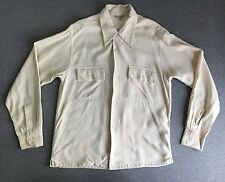 Vintage 1940s Mark Twain Rockabilly Gabardine Rayon Work Sport Shirt Men Medium