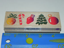 All Night Media Rubber Stamp Posh Christmas Border (Bell Candy Cane Bulb Tree