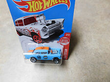 """Hot Wheels """"GULF LIVERY"""" SUPER TREASURE -55 CHEVY BEL AIR GASSER W/REAL RIDERS-"""
