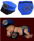 Newborn Baby Boys Crochet Knit Police Costume Outfits Photography Photo Props