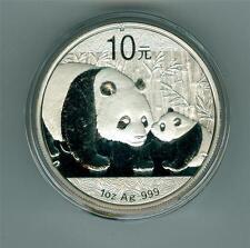 CHINA 2011 10 YUAN 1 OZ. .999 SILVER PANDA GEM BU IN ORIGINAL CAPSULE