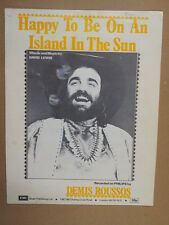 song sheet HAPPY TO BE ON AN ISLAND IN THE SUN Roussos