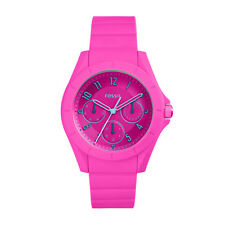 """Fossil ES4065 """"Poptastic Sport"""" Multi-Function Pink Silicone Watch"""