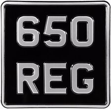 6.5x6.5 SMALL Black and Silver 6 digit Motorcycle Bike PRESSED Number Plate show