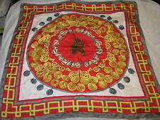 """British Museum Large Coin Silk? Scarf Red Gold Grey Gray Square Silver Neck 35"""""""