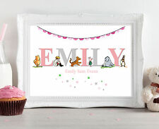 Personalised Name Winnie the Pooh Christening Gift Baby Nursery Print Picture