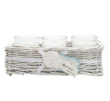 SET OF 3 ROSE WATER SCENTED CANDLE IN WICKER BASKET GIFT SET FRAGRANCE HOME NEW