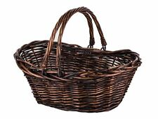 Dark Brown Willow Fruit Basket with Handles