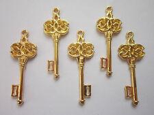 10x steampunk doré ton squelette clefs mariage vintage pendentifs breloques 45