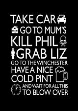 Shaun of the Dead Quote poster print A2