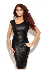 Gorgeous Amy Childs Lipsy Black Sequin Size 12 RRP£75 Pencil Party Evening Dress