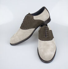 NIB. ISAIA NAPOLI  Brown Gray Suede Saddle Derby Shoes Size 9.5