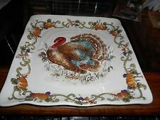 "MINT NEW MAXCERA Thanksgiving  Turkey Royale Pumpkin 11"" Square Plates"