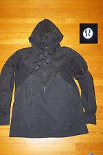 LULULEMON JACKET pullover 1/4 zip hoodie anorak BLACK rain hike camp WMS 12