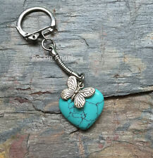 Turquoise Heart & Butterfly Keychain Ladies, Reiki Healing Crystal Gift wildlife