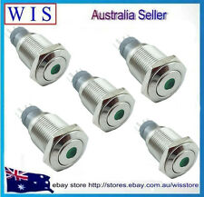 5pcs/PK 12V Green LED Stainless SteelMetal Switch Push Button ON-OFF 16mm-61118