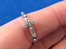 Crucifix Rosary Ring Ring Size 9 Silver Tone Oxidized Metal 1 Decade Prayer Ring