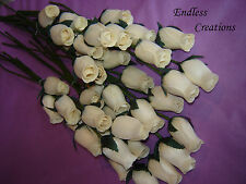 50 Cream (No.27) Wooden Roses - Wedding Flowers