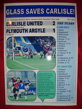 Carlisle United 2 Plymouth Argyle 1 - Jimmy Glass - 1999 - souvenir print
